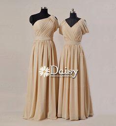 Chiffon bridesmaid dress,Bridal Party Dress,Custom Chiffon Formal Dresses,Women Dresses Khaki,Long Bridesmaids Dresses,Chiffon Dress(BM128)