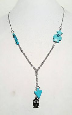 Long Drop Silver Owl & Turqoise Arrow and Bead necklace...  Check out this item in my Etsy shop https://www.etsy.com/listing/267068314/creature-series-turquoise-long-owl-drop