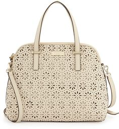 Kate Spade Cedar Street Maise Laser-Cut Dome Satchel, Crema De Vie on shopstyle.com