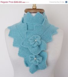 CIJ SALE Blue  Star Mohair ScarfReady for shipping by knittingshop, $27.00