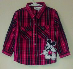 Disney Mickey Mouse Toddler Infant Boy 4T Long Sleeve Plaid Button Front Shirt  #Disney #DressyEverydayHoliday