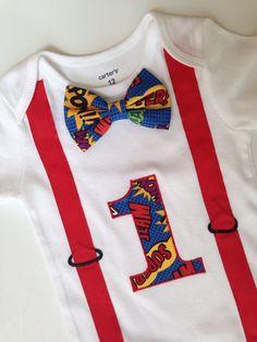 Super Hero First Birthday Onesie Boys 1st Birthday by SweetTootsy, $35.00