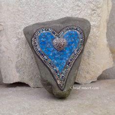 Blue Double Heart with Rose Mosaic / Garden Stone | Chris Emmert Mosaic & Design