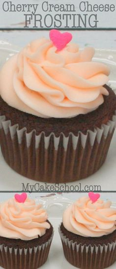 This Cherry Cream Cheese Frosting recipe is silky smooth, extremely flavorful, and pipes beautifully! I love it with chocolate cake, although it also pairs nice Frosting Recipes, Cupcake Recipes, Cupcake Cakes, Dessert Recipes, Poke Cakes, Layer Cakes, Cupcake Flavors, Creme Cheese, Cream Cheese Frosting