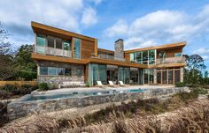 Architecture firm Blaze Makoid, designed this home on Long Island in New York, with views of Sag Harbor Bay, Northwest Harbor and Shelter Island.