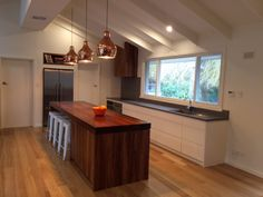 Kitchen Island Panels kitchen island bench top- 90mm blackwood timber. end panels-90mm