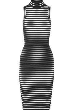 MICHAEL MICHAEL KORS Striped Ribbed Stretch-Knit Turtleneck Dress. #michaelmichaelkors #cloth #dresses