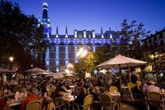 Summer night at the Plaza Santa Ana, Madrid.
