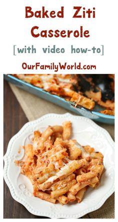 Baked Ziti Casserole Easy Vegetarian Dinner Recipe