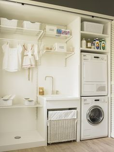 70 drying room design ideas that you can try in your home page 35 Basement Laundry, Laundry Closet, Small Laundry Rooms, Laundry Room Organization, Laundry Room Design, Laundry In Bathroom, Ikea Laundry, Storage Room, Closet Storage