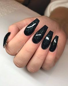 50 Cool Long Nail Designs that Are Easy to Create - Manicure - Black Nails With Glitter, Black Acrylic Nails, Black Nail Art, Long Black Nails, Black And Purple Nails, Black Coffin Nails, Nail Art Designs, Long Nail Designs, Black Nail Designs