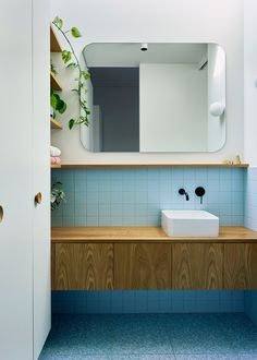 A clever and space-efficient micro addition alleviates this family's bathroom woes. Do you have a space beside your home which could be put… Best Bathroom Vanities, Bathroom Spa, Bathroom Renos, Laundry In Bathroom, Bathroom Colors, Modern Bathroom, Bathroom Ideas, Washroom, Bathroom Design Inspiration