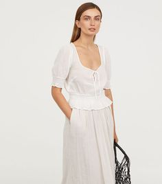 H&M Airy Blouse With Smocking