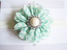 Mint Chevron Flower Headband Baby Headbands Newborn by BirdyBows, $6.50