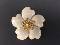 Vintage Monet Signed Flower Brooch White Enamel & Gold Tone Center Edges Pin  #Monet