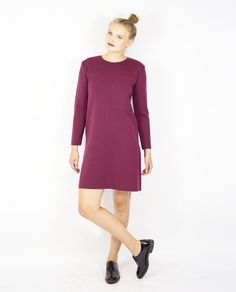BURGUNDY DRESS WITH OVERSIZED POCKET Fall Winter, Autumn, Burgundy Dress, Knitwear, High Neck Dress, Pocket, Dresses, Products, Fashion