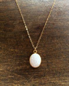 "Doxahlogy | Simple I. | White druzy quartz oval pendants on lightweight 14k gold plated chain - 16"" #wearUniquely #simple #simpleLine #gold #druzy #quartz #short #necklace #white www.doxahlogy.com www.instagram.com/doxahlogy"
