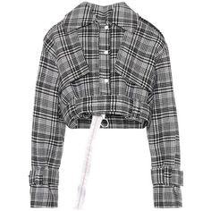 Off-White Cropped Plaid Jacket ($1,625) ❤ liked on Polyvore featuring outerwear, jackets, black, off white jacket, plaid jacket, tartan jacket and cropped jacket