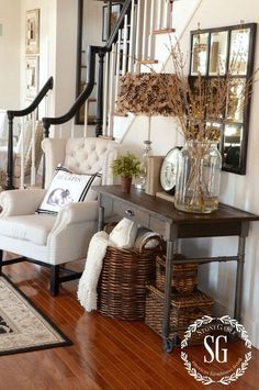 Beautiful pairing of the accent chair and rustic decor.