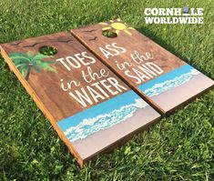 Our Toes in the Water Cornhole game comes stained with our exclusive beach design on the game surface. The boards are stained, printed and sealed for years of Cornhole play. As always, the game comes complete with 2 cornhole boards and 8 cornhole bags (4 each of two colors).