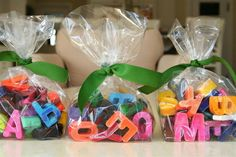 Make alphabet crayons for a pre-school or birthday party goodie bag :)