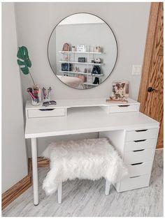 Desk For Girls Room, Small Room Desk, Teen Desk, Ikea Vanity, Vanity Room, White Vanity Desk, Vanity Area, Cute Room Decor, Teen Room Decor