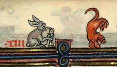 Rabbit playing bagpipes and breakdancing dog (Cambrai, MS 102)
