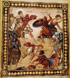 Buchmalerei - David defeating Goliath / Paris Psalter