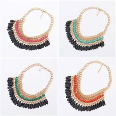 Hot Sale Bohemian Vintage Stylish Layered Beads Tassel Choker Bib Necklace