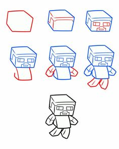 how to draw minecraft steve step by step - Google Search