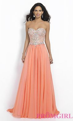 Blush Strapless Prom Dress with Beaded Top at PromGirl.com