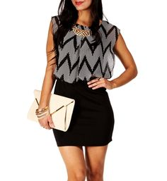 Black/Ivory Sleeveless Colorblock 2fer Dress for a night on the town