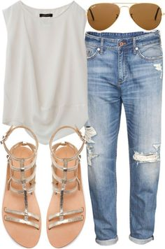 Go very simple and casual by wearing a simple white tee, sandals, and aviators. This is a great summer look!