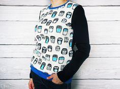 Sweat HIBOUX pingouins oiseaux animaux, coton brossé, poches, blouse en coton avec poches et coudes, : Pulls, gilets par atelier-mademoiselle-k