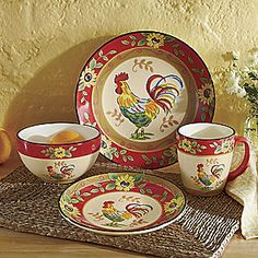 16-Piece Sunflower Rooster Dinnerware Set from Seventh Avenue ® | DI705084 How bright and cheerful & Rooster Français Dinnerware | Williams-Sonoma | Chicken Farmers ...