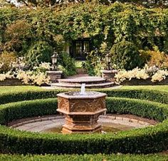 Ryan Gainey's Yellow' mums tumble over the stone retaining wall along the pergola. The Details: The baptismal font fountain is on axis with the pool house doors and is visible through the pergola. Boxwood Landscaping, Boxwood Garden, Backyard Landscaping, Landscaping Ideas, Love Garden, Diy Garden, Home And Garden, Garden Path, Amazing Gardens
