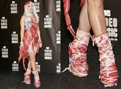 Today I am pretty excited to bring along a beautiful post of lady Gaga—the American singer for her fans out there. Lady gaga is that enthralling songster whom youth looks up to get impetus. Lady Gaga Vestidos, Moda Lady Gaga, Lady Gaga Shoes, Moda Funky, Lady Gaga Fashion, Fashion Shoes, Meat Dress, Funny Shoes, Shoes Wallpaper