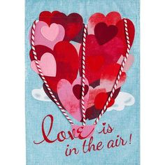 Love Is In The Air Balloon Burlap Flag