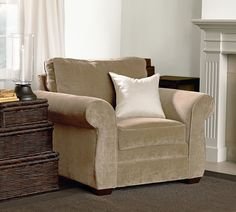 Pearce Upholstered Armchair, Down Blend Wrapped Cushions, Washed Linen/Cotton Camel At Pottery Barn - Furniture - Sofa & Sectional Collections Grey Bedroom Furniture Sets, Bedroom Furniture Makeover, Sofa Furniture, Living Room Furniture, Baker Furniture, Furniture Refinishing, White Furniture, Plywood Furniture, Office Furniture