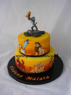 Lion King two tier birthday cake made to celebrate a 40th birthday
