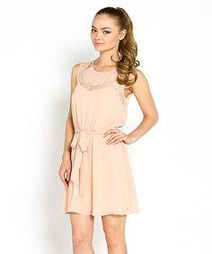 Another great find on #zulily! Blush Lace Tie-Waist Sleeveless Dress by Marineblu #zulilyfinds 24.99!!!