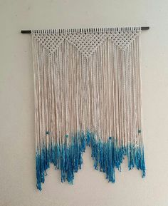 Large Macrame Wall Hanging Dip Dyed Blue Macrame by Jonatis