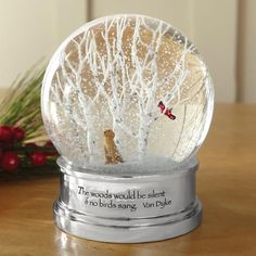 The Woods Snow Globe - The serenity of winter is beautifully captured in this elegant snow globe. This pristine snowscape features a happy Lab enjoying the day as a bright red cardinal observes from above. Link #Christmas