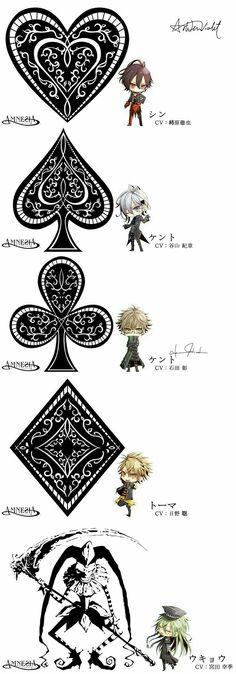 Shin, Ikki, Kent, Toma, Ukyo, heart, spade, clover, diamond, joker, cute, chibi; Amnesia Memories
