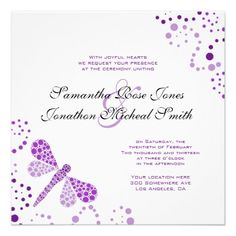 Purple White Dragonfly Pointilism Custom Wedding Invitation
