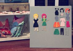 Adorable dress up felt board and template - how to make a board and includes the patterns for the clothes - could even be done small scale for a quiet book > by Smile and Wave Felt Diy, Felt Crafts, Felt Dolls, Paper Dolls, Diy For Kids, Crafts For Kids, Craft Projects, Sewing Projects, Smile And Wave