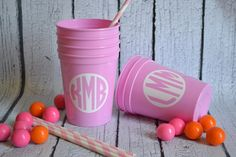 Preppy Monogrammed Stadium Cups (16 oz.)- 50 for $55.  Lots of cool colors and monograms.