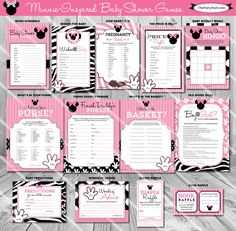 Minnie Mouse Baby Shower Game. YOU print! Print your baby shower games on your home printer or bring to your favorite print shop. Listing is for ONE printable game. You Choose. No Shipping Cost and print as many as you need!  You may select the game of your choice from the dropdown menu. Description and sizes of games are below. Coordinating invitation and decorations available in our shop. Click here: https://www.etsy.com/listing/184214056/minnie-mouse-baby-shower-invitation…