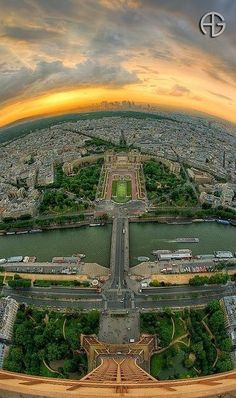A great panoramic, sunset view of Paris city from the top of Eiffel Tower