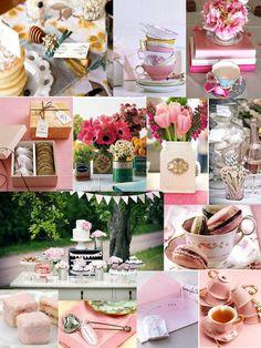 tea party theme - vintage - romantic - shower idea